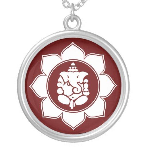 Lotus Ganesha Round Pendant Necklace