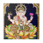 """LOTUS GANESHA TANJORE PAINTING TILE<br><div class=""""desc"""">LOTUS GANESH TANJORE PAINTING  Ganesha,  also spelled Ganesa,  also known as Ganapati and Vinayaka is a widely worshipped deity in the Hindu pantheon. His image is found throughout India and Nepal. Hindu sects worship him regardless of affiliations. ...  http://en.wikipedia.org/wiki/Lord_Ganesh</div>"""