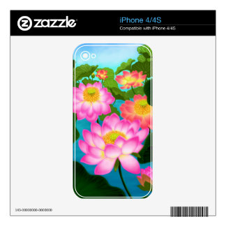 Lotus Garden Flowers Zazzle Skin iPhone 4S Skin