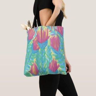Lotus Garden Watercolor Print Tote Bag