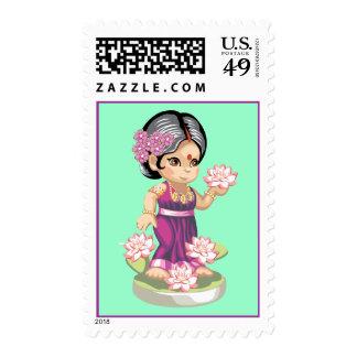 Lotus Girl Postage Stamp