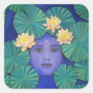 Lotus Goddess Square Stickers