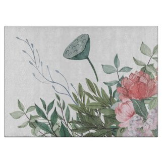 Lotus Gouache Garden Floral Glass Cutting Board
