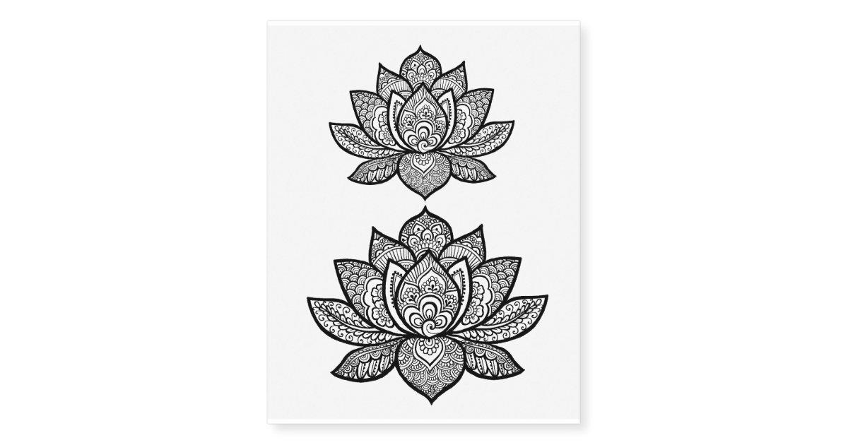 lotus henna design temporary tattoo sheet. Black Bedroom Furniture Sets. Home Design Ideas