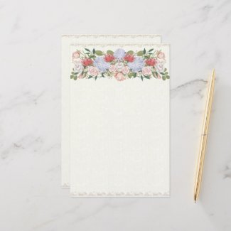 Lotus, Hydrangea and Rose Floral Hedge Stationery
