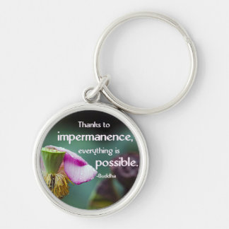 Lotus/Impermanence-Buddha Wisdom Quote Silver-Colored Round Keychain