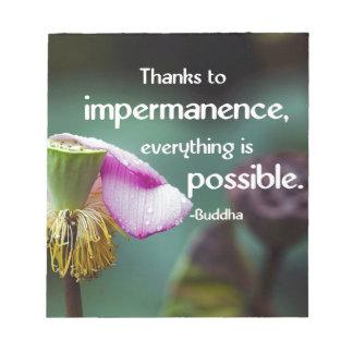 Lotus/Impermanence-Buddha's Teaching Quote Notepad