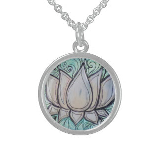 Lotus in Blue Sterling Silver Necklace