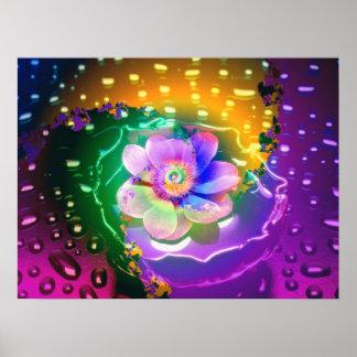Lotus in the Rain - Poster