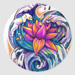 lotus in the waves sticker
