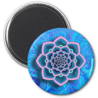 Lotus Mandala in Pink and Aqua Magnet