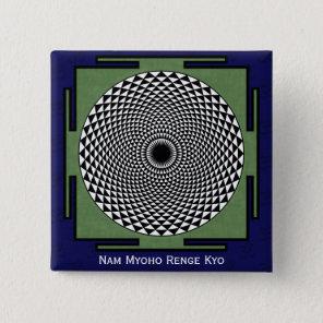 Lotus mandala Nam Myoho Renge Kyo Button