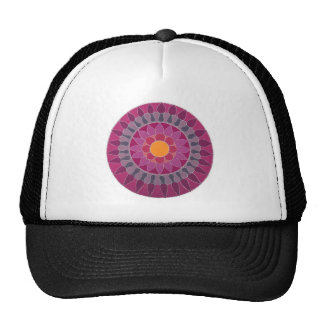 Lotus Mandala pink, red, peach, Yoga inspired Trucker Hat