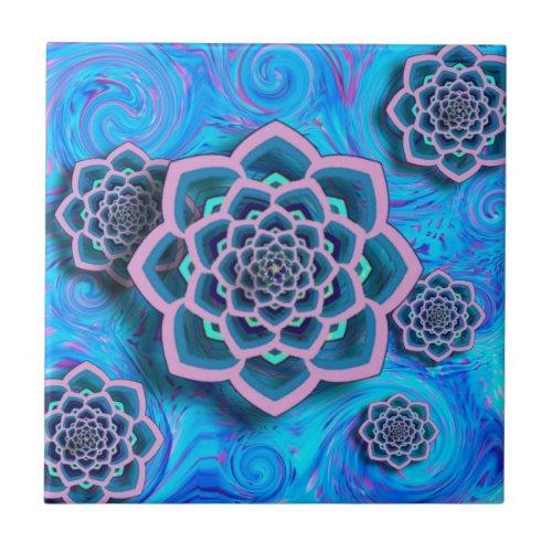 Lotus Mandala Swirl Abstract Ceramic Tile tile