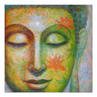 Lotus Meditation Buddha spiritual art poster print