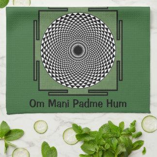 Lotus meditation dharma wheel hand towel