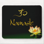 "Lotus Namaste mousepad with om<br><div class=""desc"">Enjoy the serenity of your day with the stillness of this lotus.  Text are REMOVABLE,  if you prefer just the lotus on your mousepad.  Buddha&#39;s compared the enlightened ones with a full lotus came up from the merky water into the sunlight.</div>"