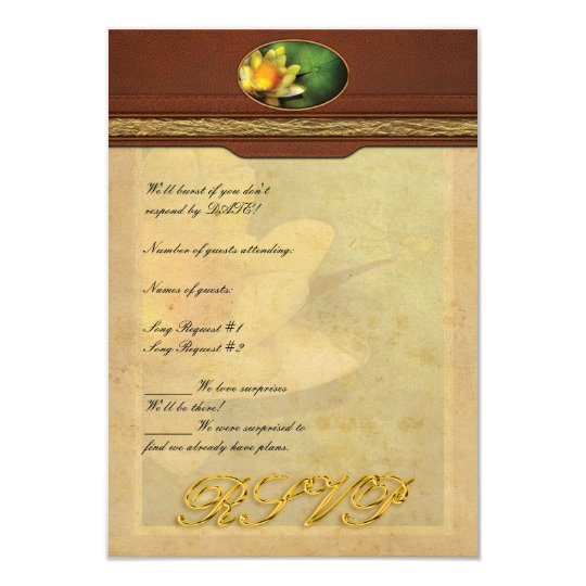 """Lotus - Nymphaea - lirio amarillo Invitación 3.5"""" X 5"""""""