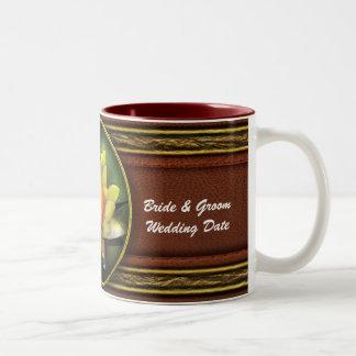 Lotus - Nymphaea - Yellow lily Two-Tone Coffee Mug