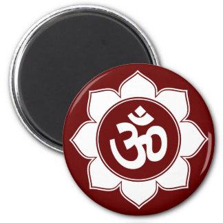 Lotus Om Design 2 Inch Round Magnet