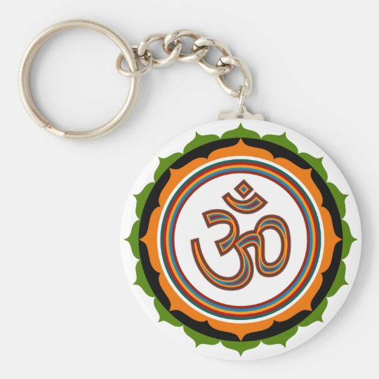Lotus Om Design Keychain