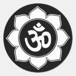 Lotus Om Design Round Stickers