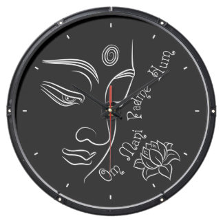 Lotus Om Mani Padme Hum on black Aquarium Clocks