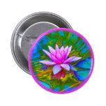 Lotus or Waterlily Elegant Flower Yoga 2 Inch Round Button