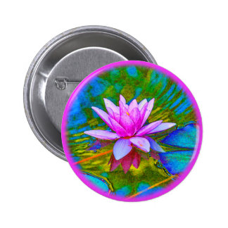 Lotus or Waterlily Elegant Flower Yoga Pinback Button