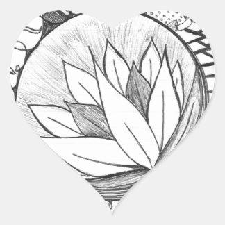 Lotus Pegatina En Forma De Corazón