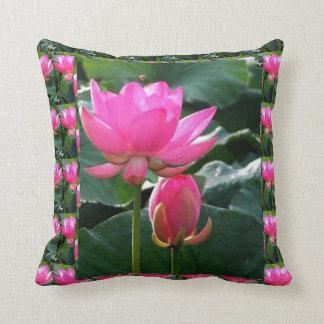 LOTUS Pink and BUD Throw Pillow