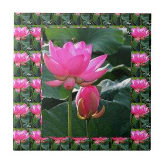 LOTUS Pink and BUD Ceramic Tile
