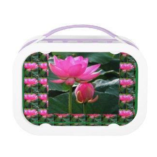 LOTUS PINK FLOWER PATTERN LUNCH BOX