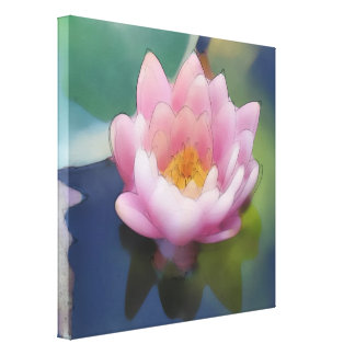 Lotus Pink Flower with Reflection Wrapped Canvas