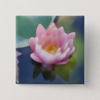 Lotus Pink Flower with Reflection Wrapped Canvas Button