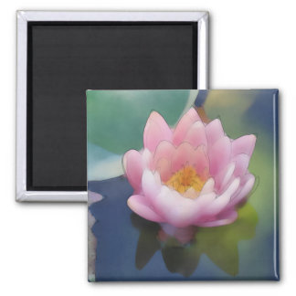 Lotus Pink Flower with Reflection Wrapped Canvas Magnet