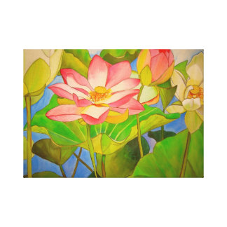Lotus pink waterlily watercolor art painting canvas print