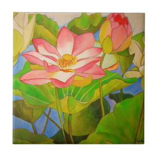 Lotus pink waterlily watercolor art painting ceramic tile
