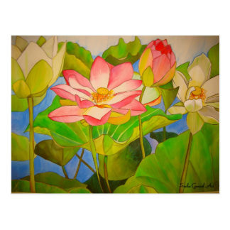 Lotus pink waterlily watercolor art painting postcard
