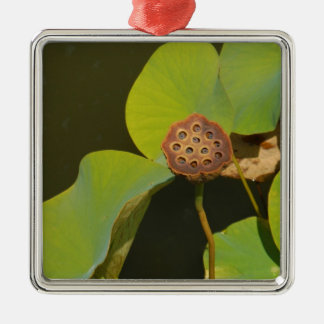 Lotus Pod and Lilly Pad Metal Ornament