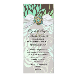 Lotus Pond Brown Damask Ribbon Wedding Menu Card