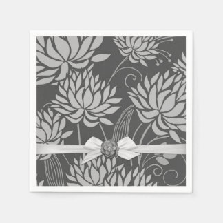 Lotus Pond Grey Damask Ribbon Napkins