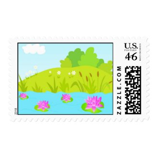 Lotus pond stamp