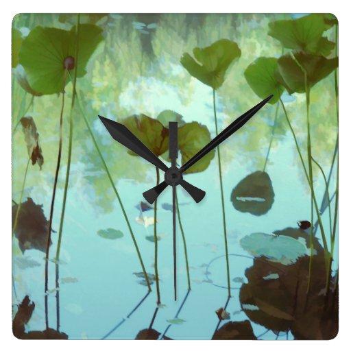 lotus pond wall clocks