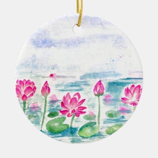 Lotus pond watercolor ceramic ornament zazzle Pond ornaments