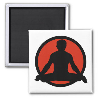 Lotus Pose Yoga 2 Inch Square Magnet