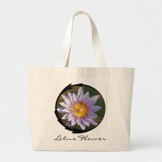 Lotus púrpura/lirio de agua bolsa tela grande