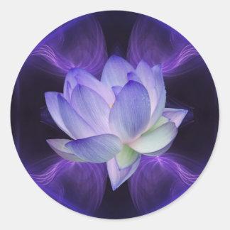 Lotus púrpura y geometría sagrada pegatina redonda