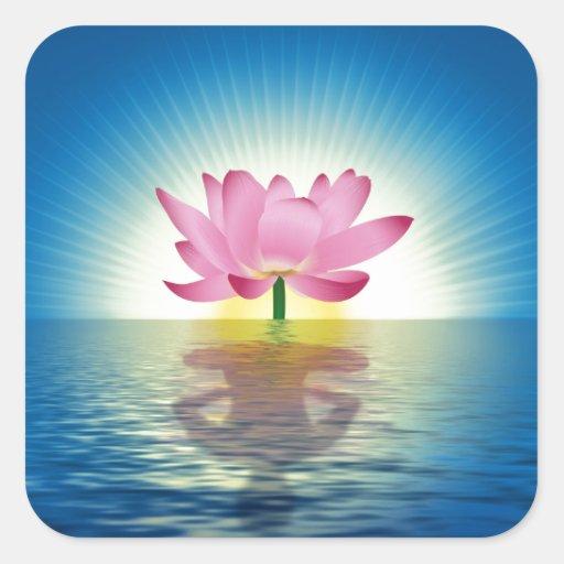 Lotus Reflection digital illustration Square Sticker