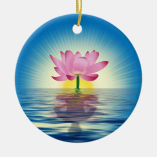 Lotus & Reflection Double-Sided Ceramic Round Christmas Ornament